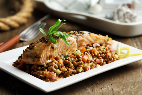 ... with cilantro and mustard glazed salmon with salmon with lentils and