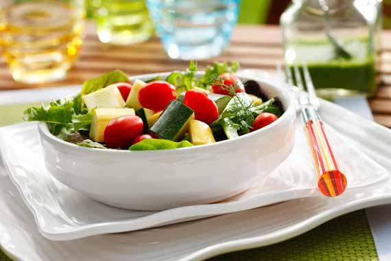 Zucchini, Squash and Grape Tomato Salad with Basil Vinaigrette